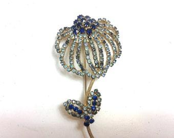 Weiss Flower Brooch 50s Blue Rhinestone Pin Brooch | Costume Jewelry