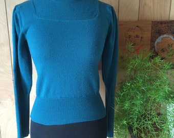 Vintage 1980's Teal Wool Acrylic Blend Sweater S