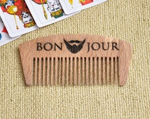 Personalized Beard Comb, Wooden Comb, Bon Jour,  Pocket Comb, Personalized Wood Comb. Men Comb, Custom comb, hairbrush, hipster gift