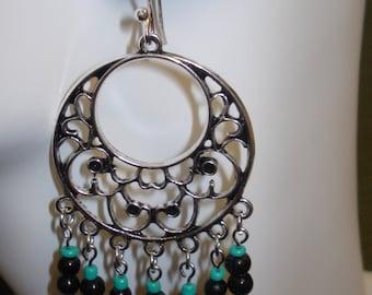 Turquoise/Black Large Beaded Dangle Earrings