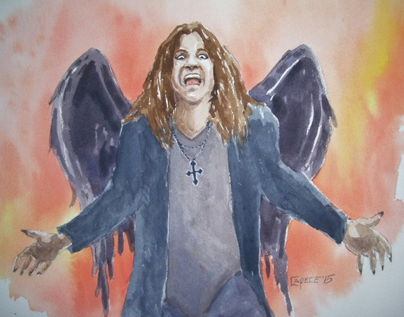 "Ozzy, The Prince Of Darkness,16"" x 20""Watercolor,ONE OF A KIND, Not a Print,Free Shipping Code SKYE2"