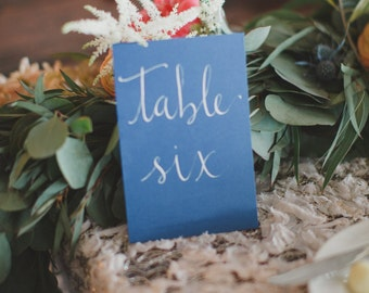 Wedding Table Numbers - Hand Lettered Table Numbers - 5x7 Cards