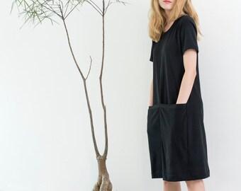 Black cotton dress, short sleeves, short dress