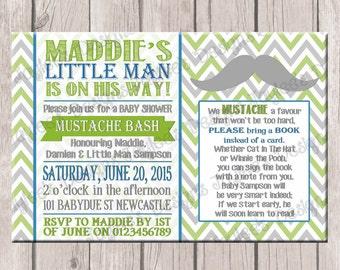 Boys Baby Shower Invite, Mustache Bash, Printable, GREEN, Blue & Grey, Digital Photo Invitation
