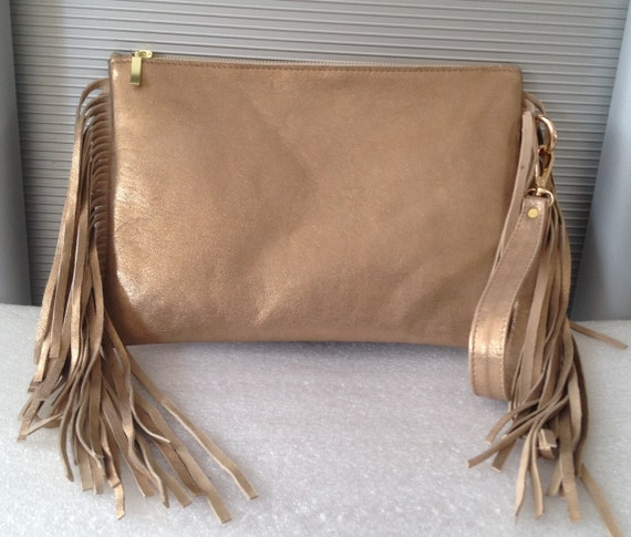 Chic Leather Clutch with Fringe Gold Envelop Small Medium Special Evening OLA Olaccessories FREE SHIPPING