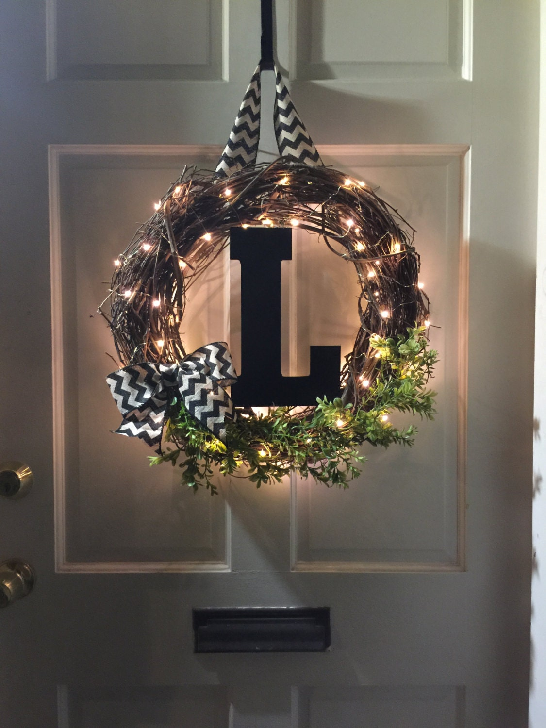 Light up wreath monogram chevron burlap grapevine by for Burlap wreath with lights