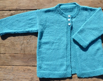 18 month 100% merino wool hand knitted cardigan