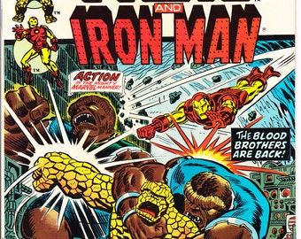 Iron Man and The Blood Brothers in Marvel Feature 12. Thanos comic book, Jim Starlin from 1973, Vintage Bronze Age Comics in VF (8.0)