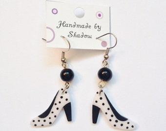 Dangle earrings, boho earrings, pendant earrings, fun and fashionable, polka dot, unique gift, gift for her, earrings for girls