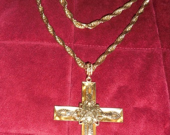 Large Ornate Goldtone Cross