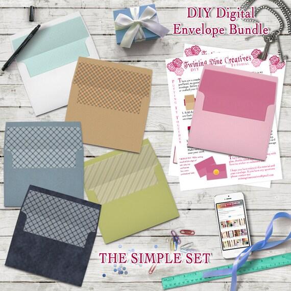 diy envelope template a7 5x7 envelope template digital download diy envelope bundle set combo. Black Bedroom Furniture Sets. Home Design Ideas
