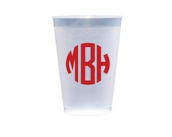 Monogram Personalized Wedding Shatterproof Plastic Cups (M-043)