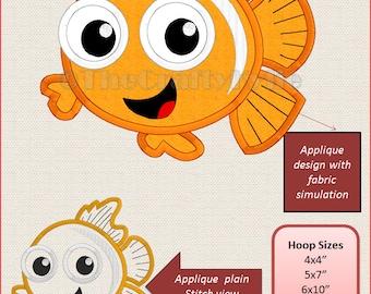 Disney Nemo Machine Embroidery Applique Designs 4x4 5x7 6x10 hoop
