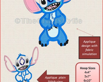 Disney Stitch Machine Embroidery Applique Designs 4x4 5x7 6x10 hoop