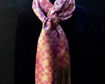 Handwoven handpainted silk scarf