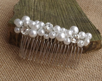 White ivory pearl comb Bridal hair comb wedding hair accessories bridal headpieces rhinestone hair comb bridal wedding hair comb