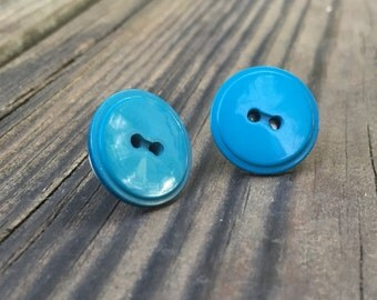 Vintage Teal Button Earrings