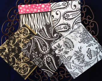 Black and White Decoupage Paper Napkins Serviettes Variety Pack 5 Count Paisly Flourishes Zebra Stripes Flowers Pink Polka Dots Scrapbooking