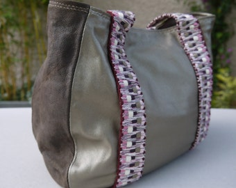 Bag leather shiny beige and Brown woman
