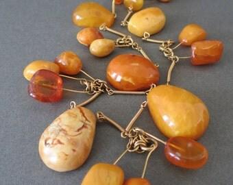 Vintage Natural Baltic Butterscotch Egg Yolk Amber Beads Necklace
