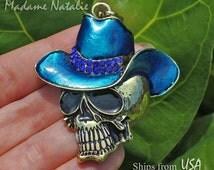 Cowboy Skull Pendant, Halloween Pendant, Funny Skull Pendant, Day of the Dead Pendant, Blue and Gold Enamel Skull Pendant, Rhinestone Skull