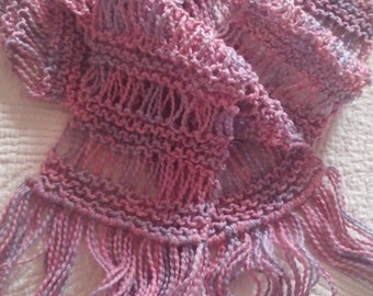100% Organic Cotton Scarf, Handmade, Knitted Scarf