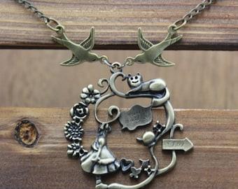 antique bronze Alice in Wonderland bird steampunk jewelry antique necklace vintage style gift idea N35A