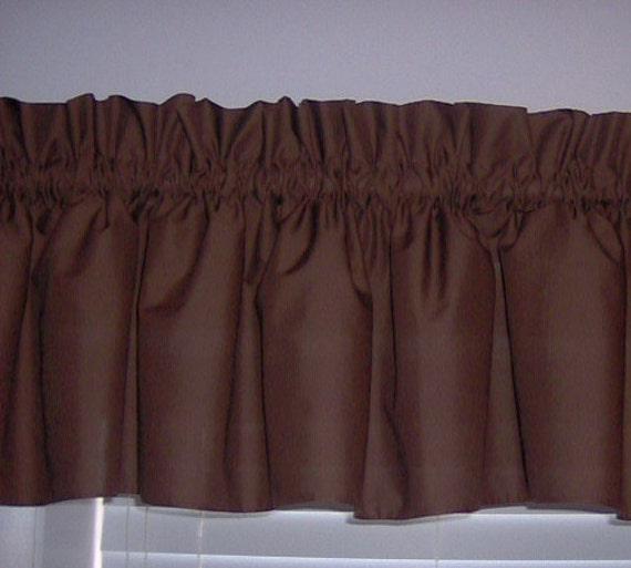 Solid Chocolate Brown Valance Curtain Window Treatment, 58
