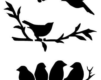 """5.8/8.3"""" Birds on branches stencil. Birds 2. A5."""