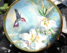 """Pickard """"Ruby-throated Hummingbird and Lillies"""" Collectable Plate by Cyndi Nelson (numbered and signed)"""