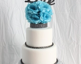 Teal and Black floral with butterfly cake topper