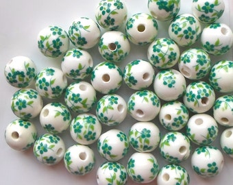 20 X Green Hand Printed Round Porcelain Ceramic Flower/Floral Beads 12mm
