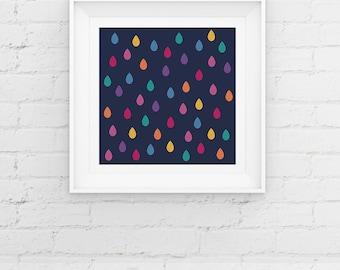 Rainbow Raindrops Nursery Art Print, Contemporary Rain Giclee Art Print, Nursery Decor, Baby Shower Gift