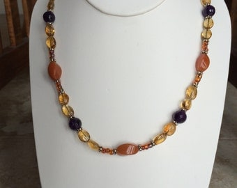 Carnelian, Citrine & Amethyst Necklace
