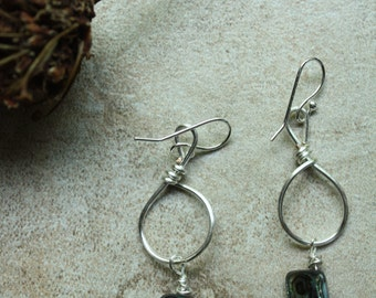 Abalone and silver wire wrapped dangle earrings