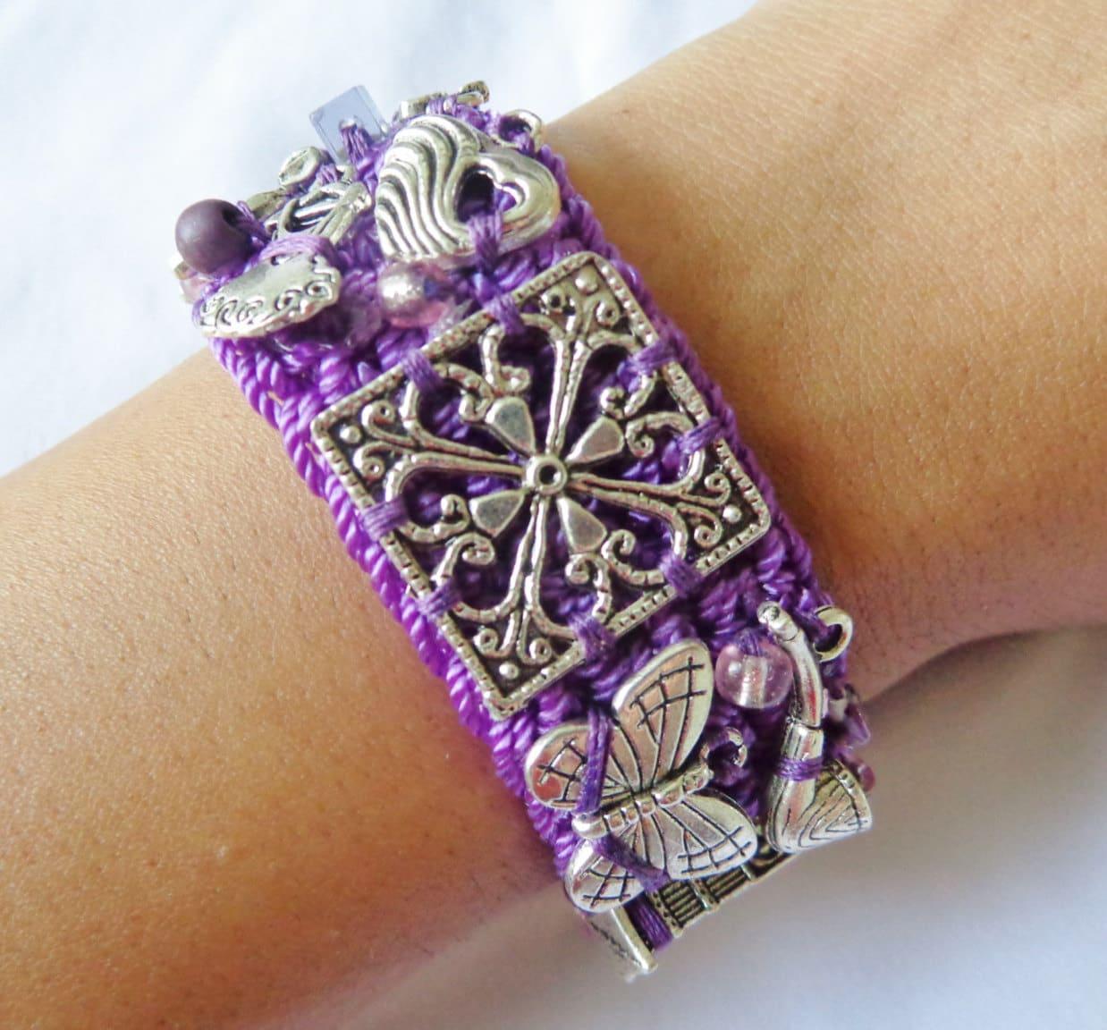 wrap bracelet purple charm bracelet knitted w silver charms