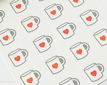 24 Coffee Mug Planner Stickers- Coffee Cup with Heart Coffee Date Reminder Stickers- perfect in an Erin Condren, wall calendar or scrapbook
