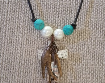 Vintage Inspirational Turquoise & Freshwater Pearl Leather Necklace with Cross, Bird and Key and gemstone charms