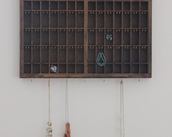 Antique Printers Tray Jewelry Organizer