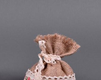 Burlap&Floral Ribbon Bag 13x20cm