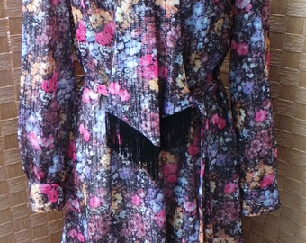 Handmade Floral 60s/70s Dress with Scarf Detail.
