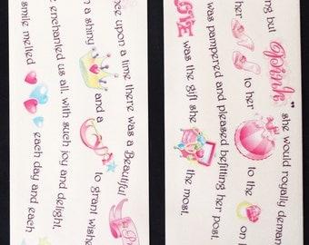 Miss Elizabeths Princess Poem Clear Sticker Sheet Double Sided Acid Free Lignin Free NEW