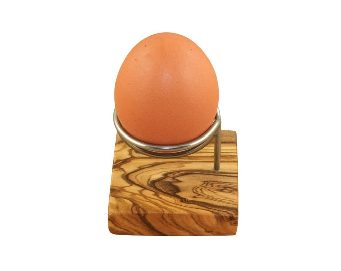 Egg cups made of olive wood and stainless steel