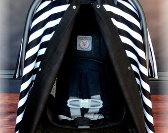 Black and White Stripe Carseat Canopy - The Canopy Shoppe, Baby Car Seat Cover, Infant Carrier