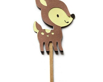 Cupcake Toppers, Deer Toppers, Woodland Party, Woodland Shower, Woodland Toppers, Deer Picks, Birthday Decor, Deer Die Cuts