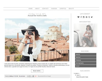 "Blogger Template Premade Blog Design - ""Fashion Notebook"" Blogger Theme"