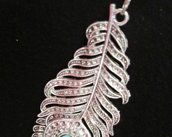 Silver-Plated Feather Pendant