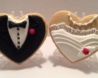Wedding Cookies Bride Groom Custom