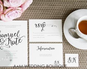 Wedding Invitation set, Romantic Wedding Invitation Template, Printable Invitations, Elegant invitation set, Customized : SIMONE
