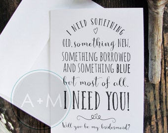 Will You Be My Bridesmaid, Cards, Maid Of Honour, Wedding Party, (Set of 2), 5x7 Sarah Jane Black and White